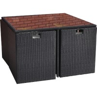 KINGFISHER METAL FRAME RATTAN EFFECT CUBE TABLE AND 4 ...