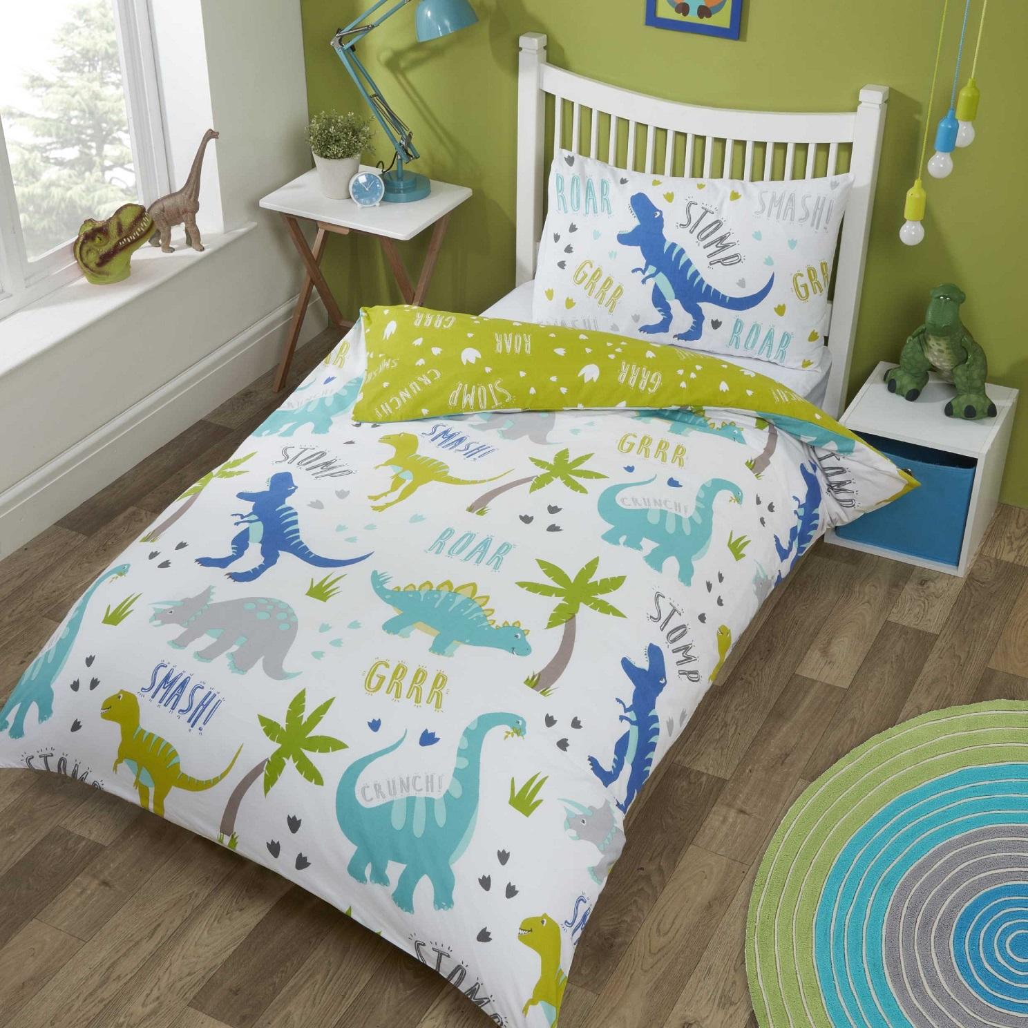 details about dinosaurs toddler cot bed duvet cover t rex kid boy quilt bedding set green blue