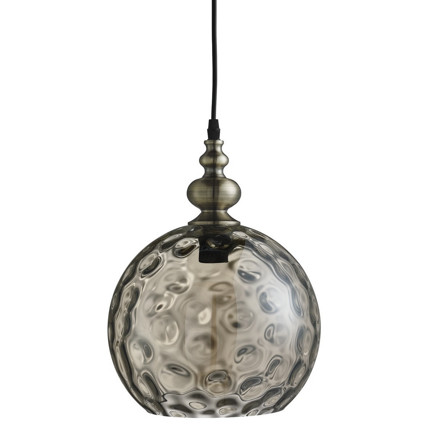 Indiana Antique Brass Globe Ceiling Pendant Light Fitting Dimpled Glass Shade 5053423058566 Ebay