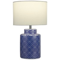 Ceramic Blue And White Base Bedside Table Lamp Desk Light