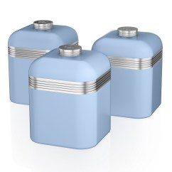 Kitchen Containers Narrow Cabinet For Swan Set Of 3 Tea Coffee Sugar Blue Canisters Jar