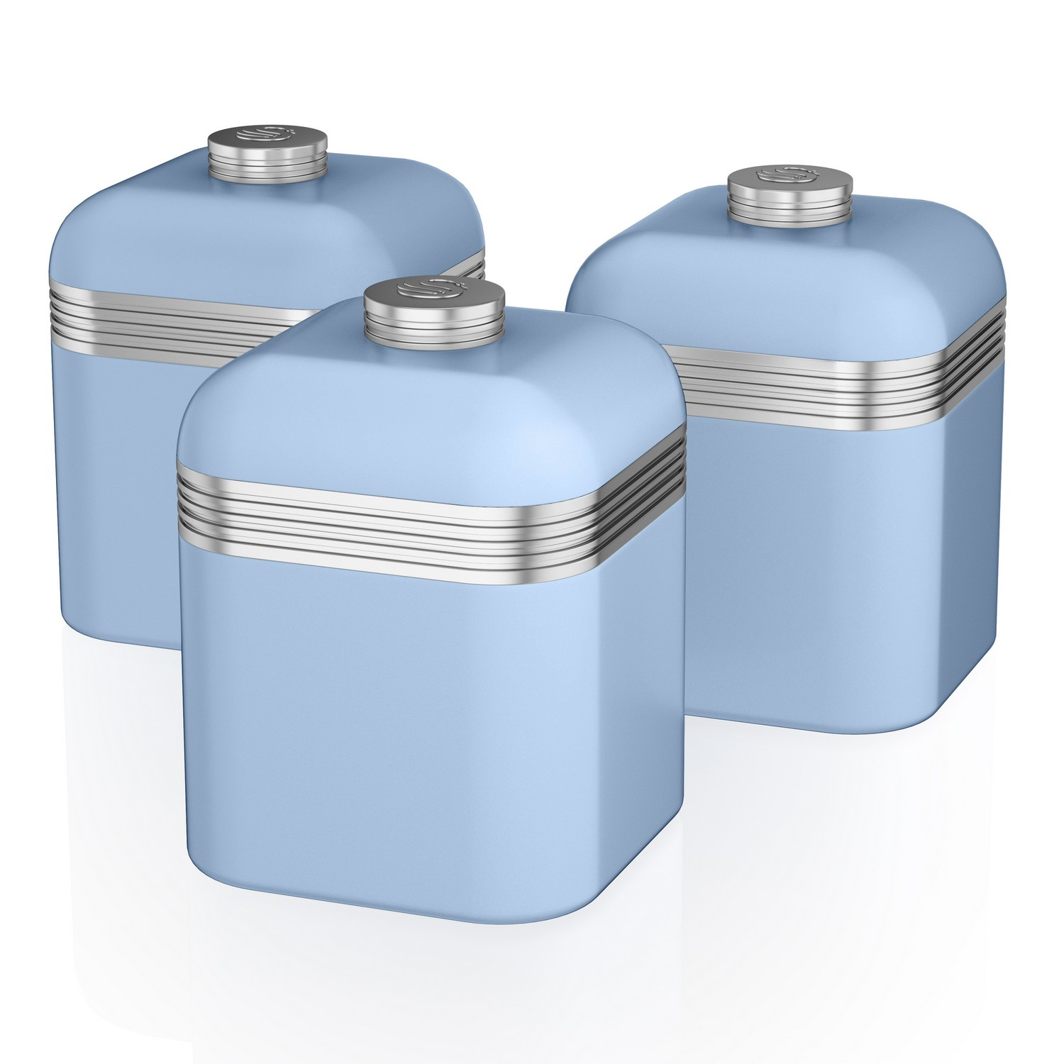 kitchen containers food processor swan set of 3 tea coffee sugar blue canisters jar