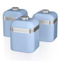 SWAN SET OF 3 TEA COFFEE SUGAR BLUE CANISTERS JAR KITCHEN ...