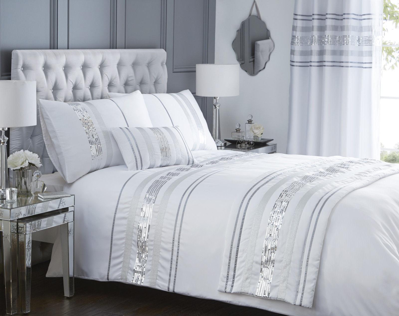 Luxury Sequin Glitter Stripe Duvet Quilt Cover Bedding Set