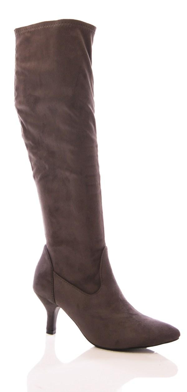 Ladies Womens Stretch Boots Kitten Heel Pointy Elastic