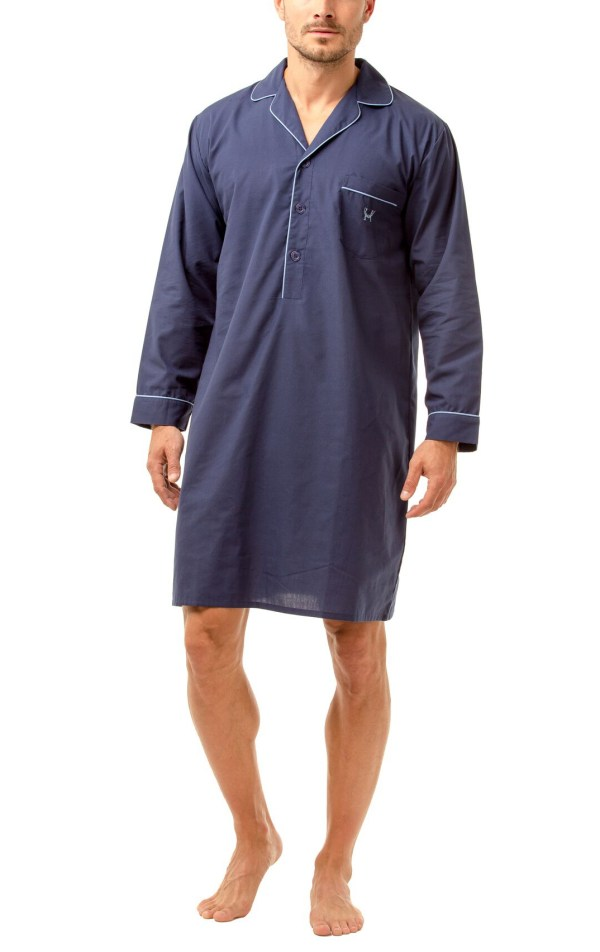 Haigman Men' Easy Care Long Sleeve Nightshirt With Cotton