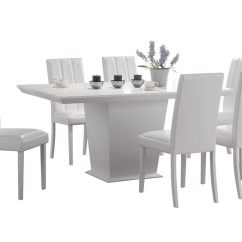 White 6 Chair Dining Table Design Old Finish And Set With Leather