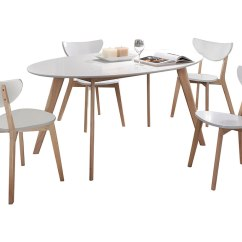 White Painted Table And Chairs Godrej Revolving Chair 7032 Natural Wood Dining Set