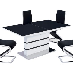 White High Gloss Dining Table 6 Chairs Revolving Chair Assembly Black And Extending