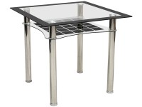 Metal & Black Glass Square Dining Table | eBay