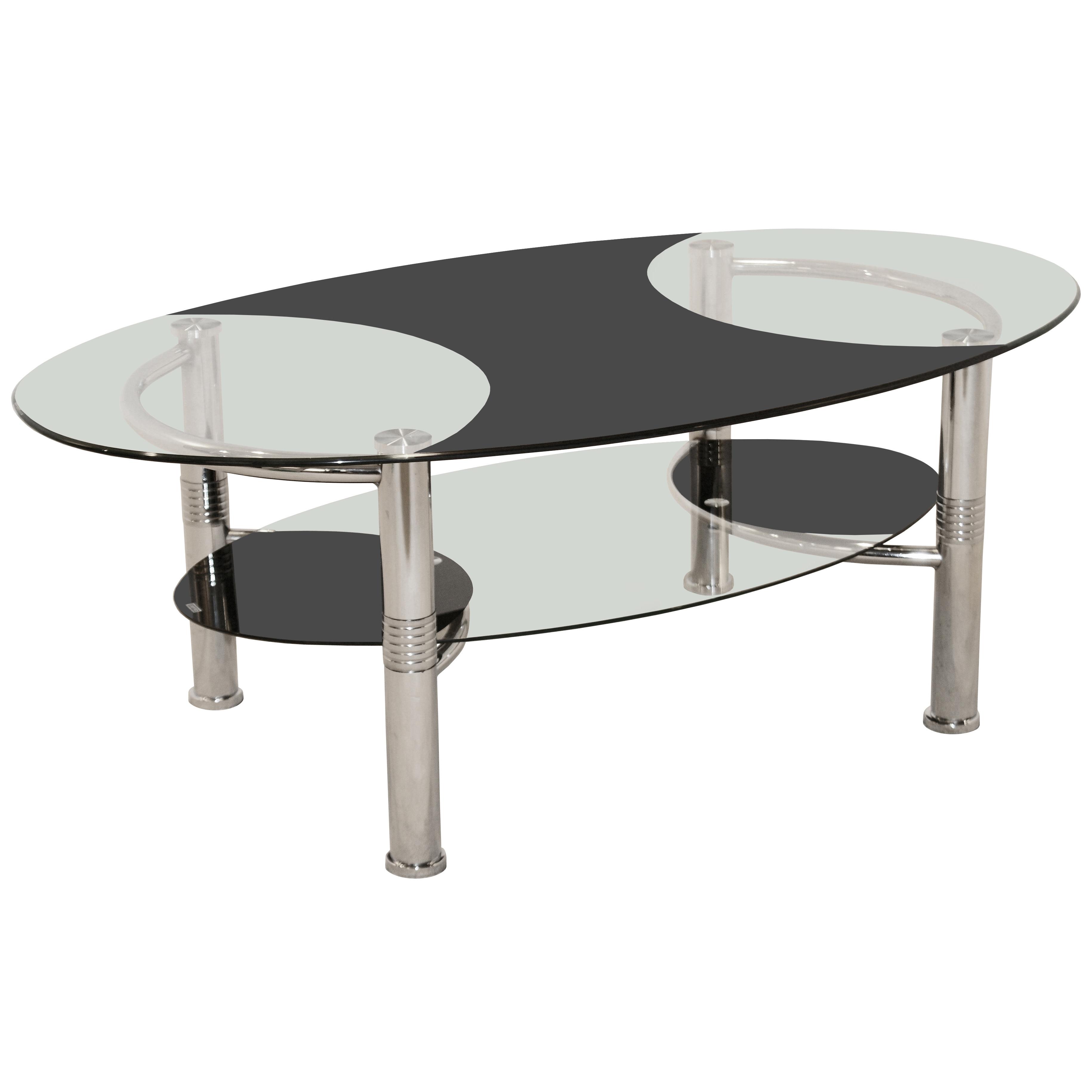 Chrome Metal & Glass Oval Coffee Table with Shelf