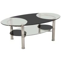 Chrome Metal & Glass Oval Coffee Table with Shelf | Black ...