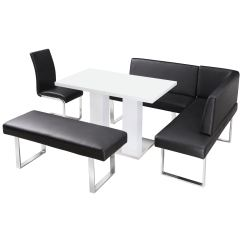 High Table Chair Set Grey Fabric Office Chairs Gloss Dining And With Corner Bench