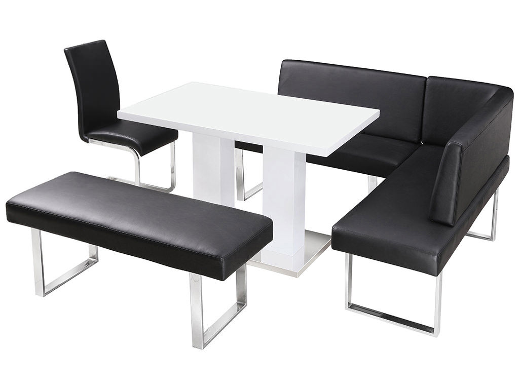 dining set with bench and chairs purple mesh office chair high gloss table corner