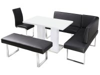 High Gloss Dining Table and Chair Set with Corner Bench ...