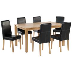 Black Dining Sets With 6 Chairs Chair Design In Office Oak Finish Table And Set Leather Seats