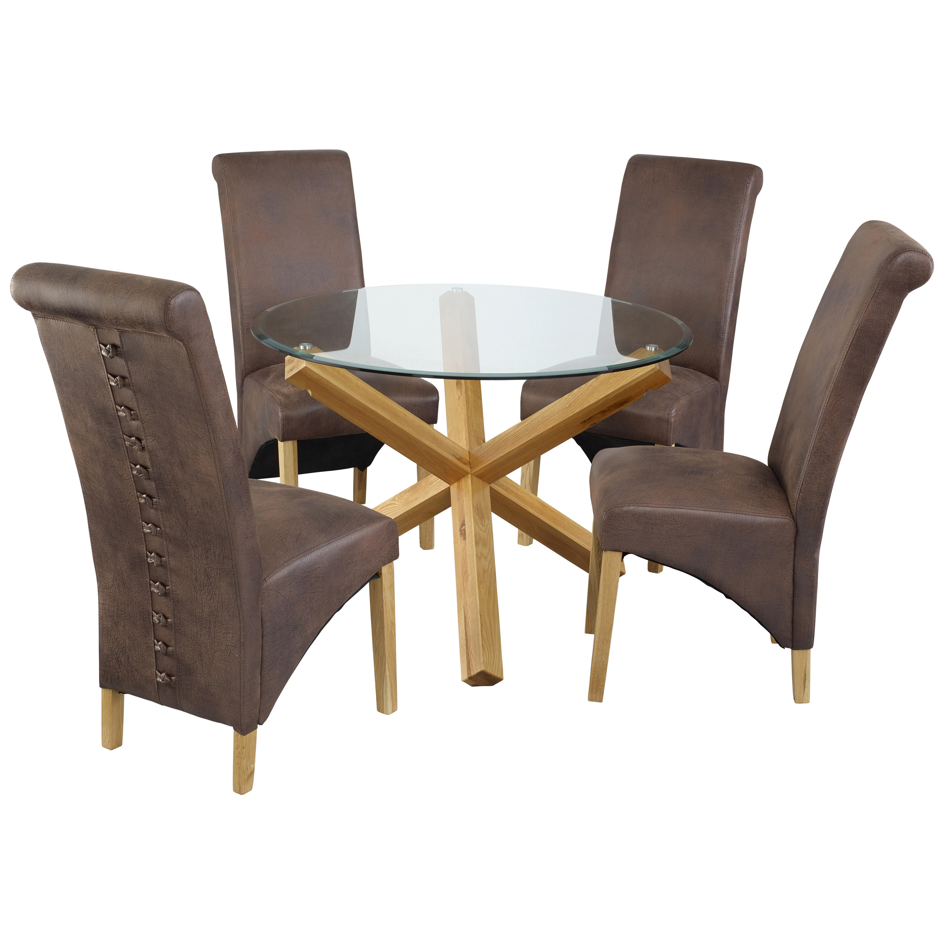 round oak table and chairs maroon office glass dining chair set with 4