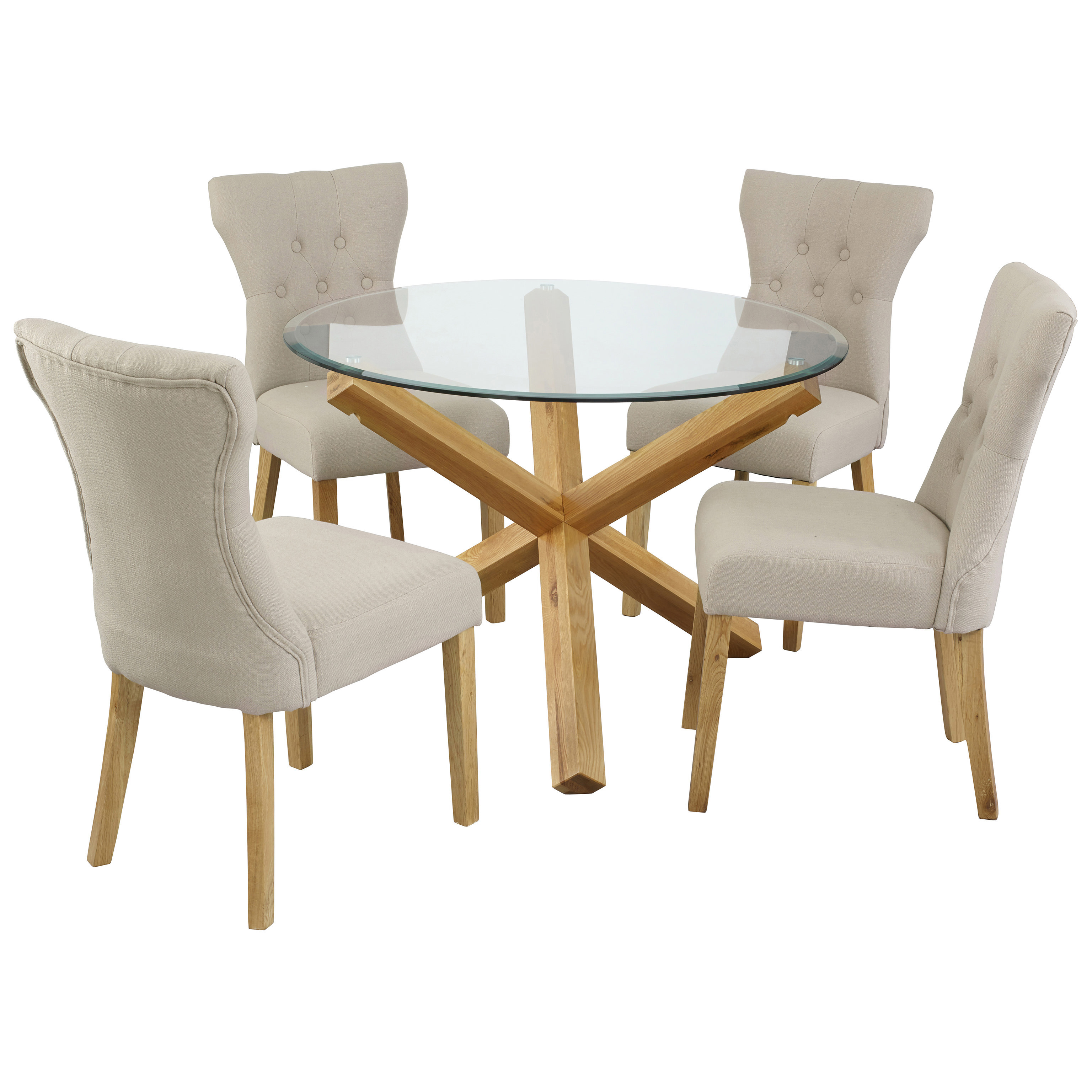 Oak & Glass Round Dining Table and Chair Set with 4 Fabric