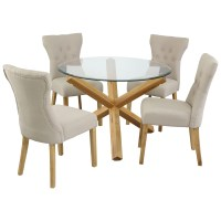 Oak & Glass Round Dining Table and Chair Set with 4 Fabric ...