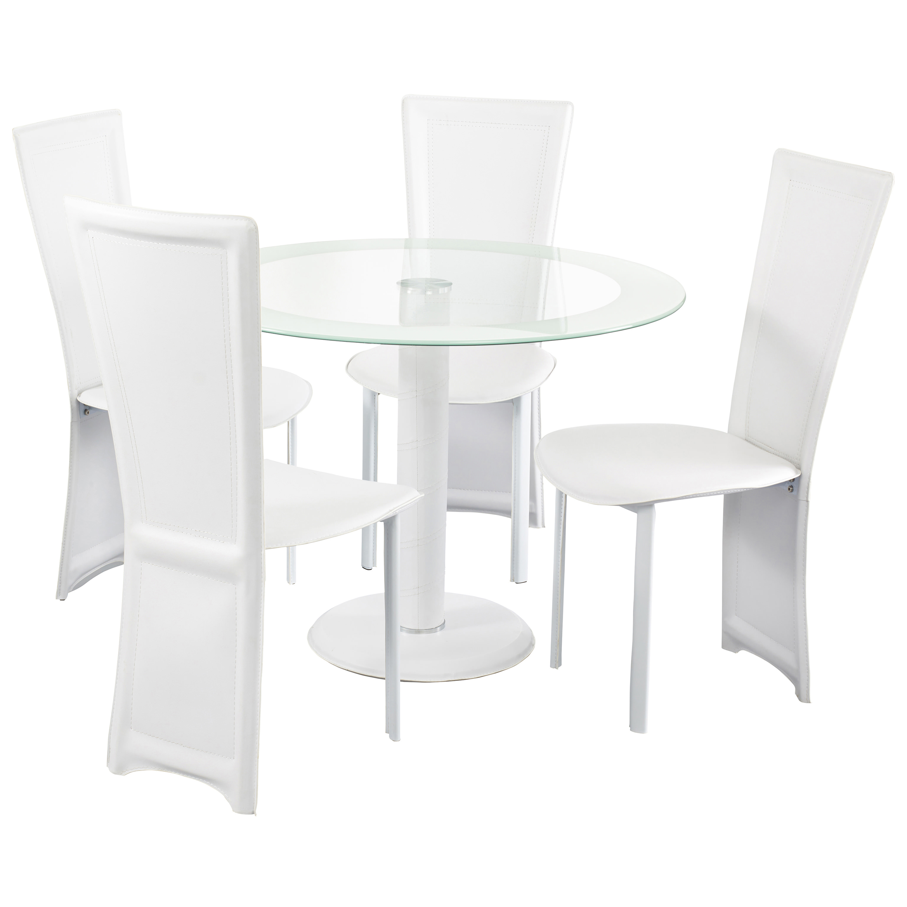 Clear Glass Round Dining Table and Chair Set with 4