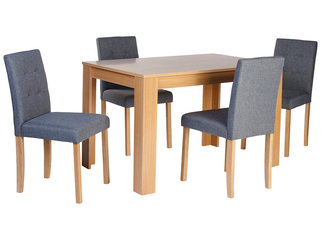 grey fabric oak dining chairs lawn chair with table attached finish and set 4