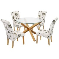 Solid Oak & Glass Round Dining Table and Chair Set with 4 ...