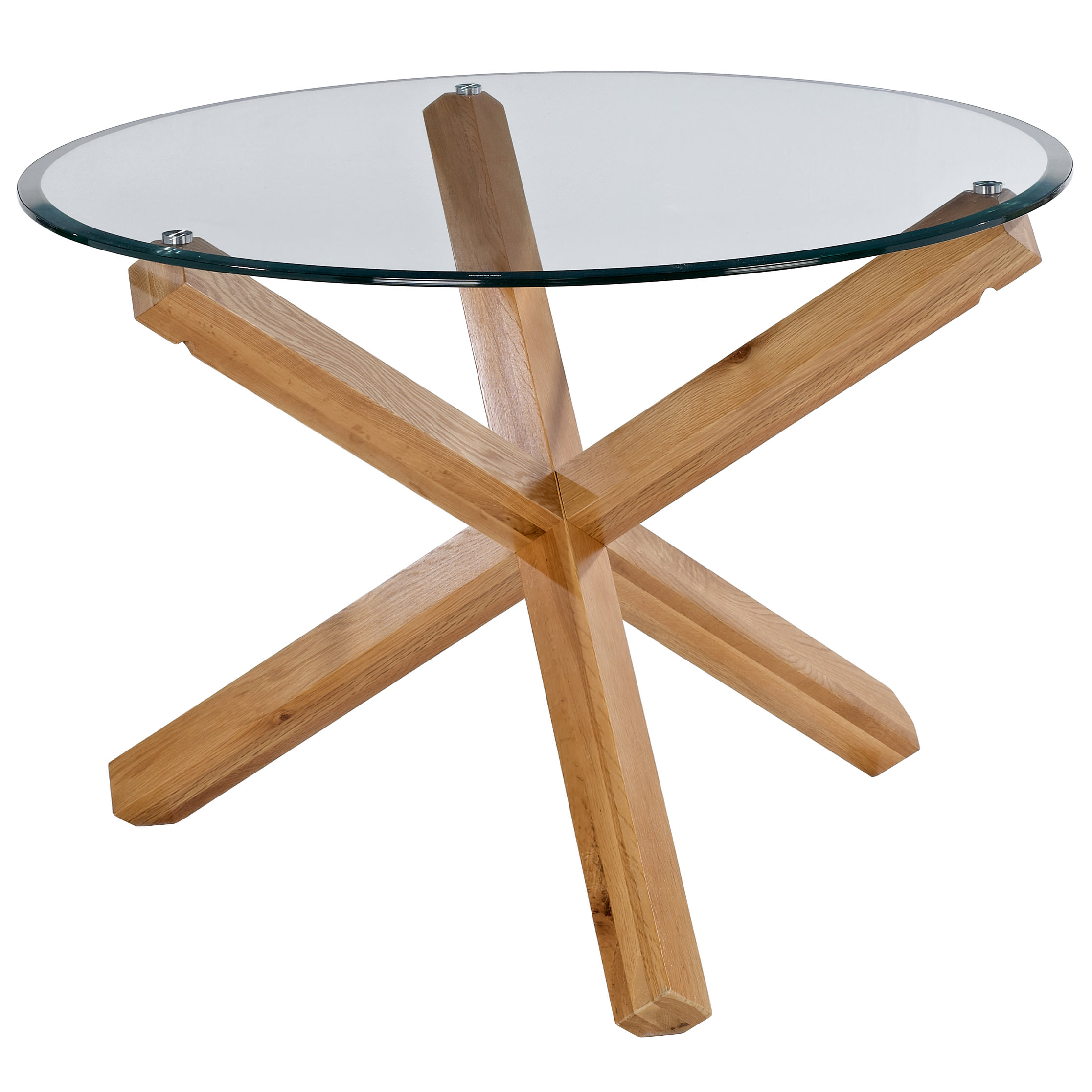 Glass Chair Solid Oak And Glass Round Dining Table And Chair Set With 4