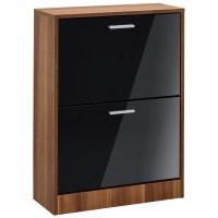 High Gloss & Walnut Finish Shoe Storage Cupboard Cabinet ...