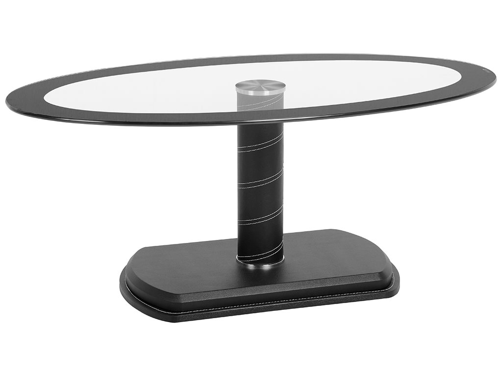 Black & Clear Glass Oval Coffee Table