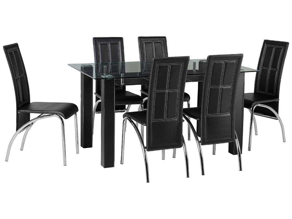 Clear Glass Dining Table and Chair Set with 6 Black