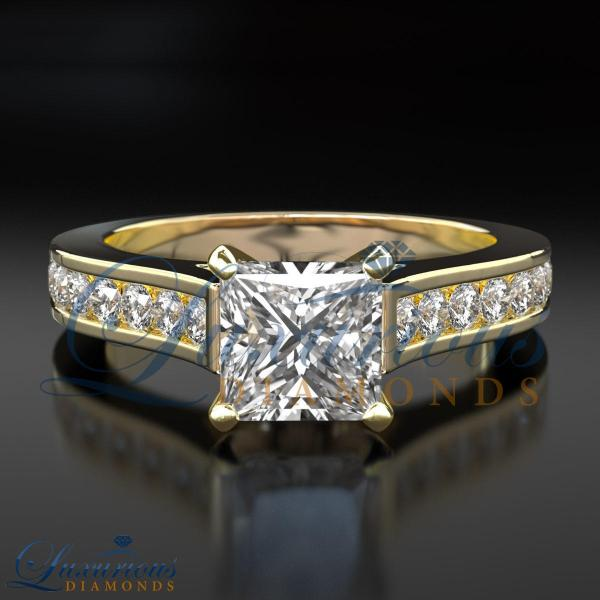 1.15 Carat Anniversary Diamond Ring Si Solitaire Princess Cut Yellow Gold