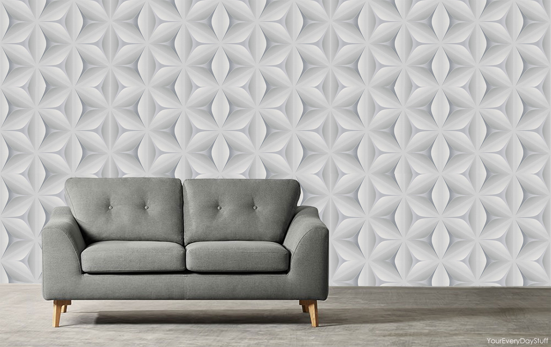 funky living room wallpaper paint colors for open and dining retro vintage star leaf 3d abstract geometric grey white