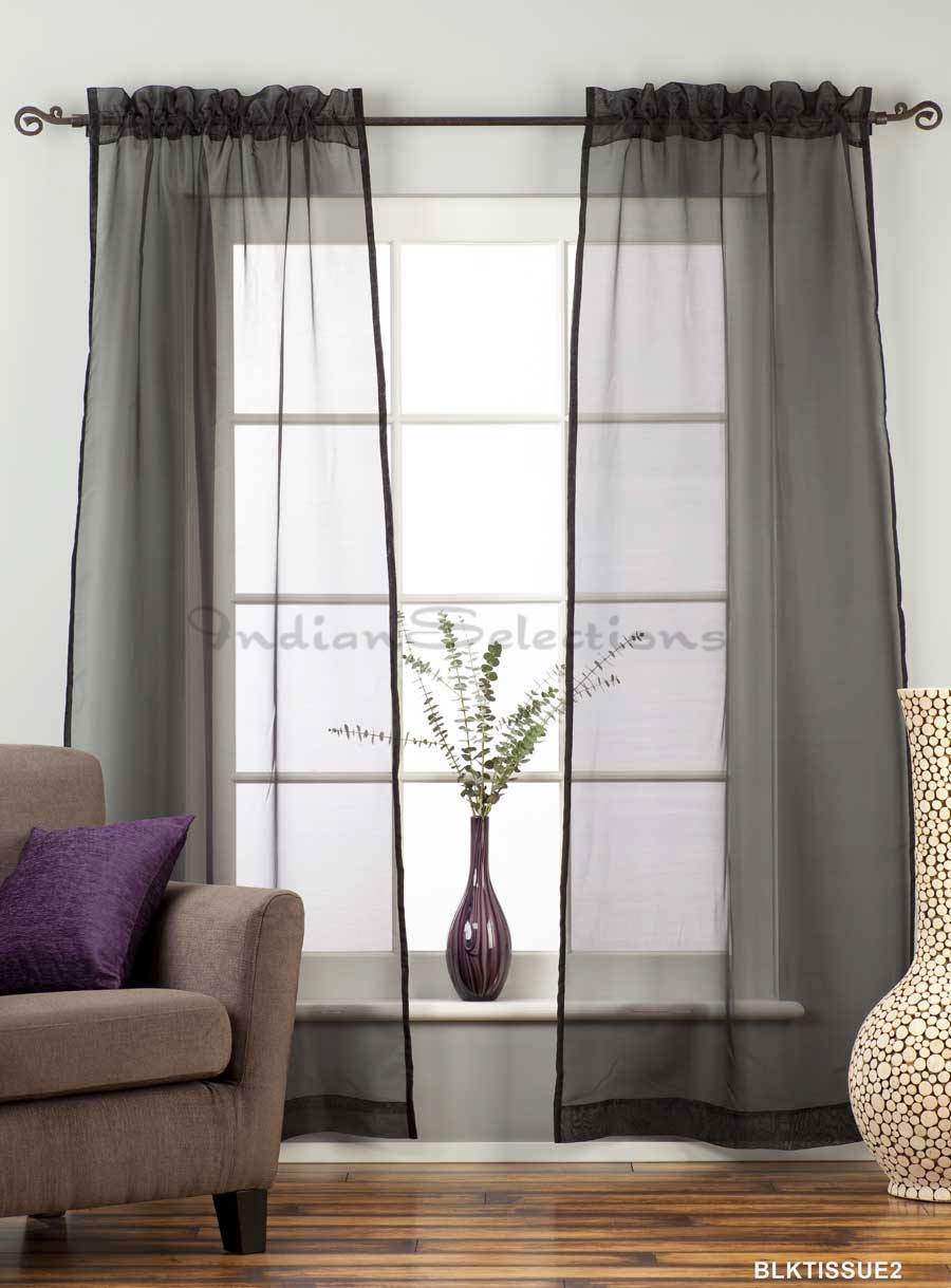 Black  Rod Pocket Sheer Tissue Curtain Panel Drape
