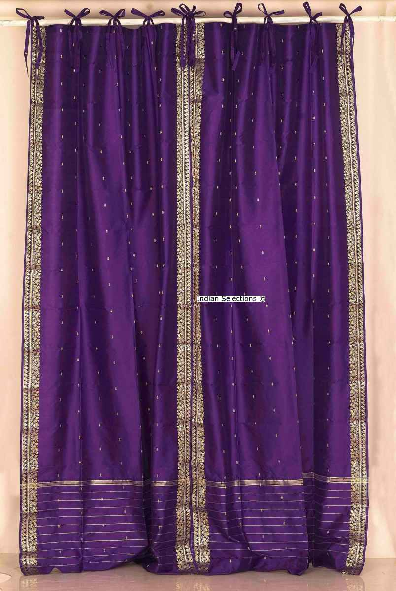 Purple Tie Top Sheer Sari Curtain  Drape  Panel  Piece