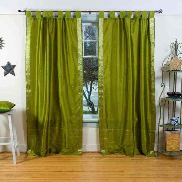 Olive Green Tab Top Sheer Sari Curtain Drape Panel - Piece