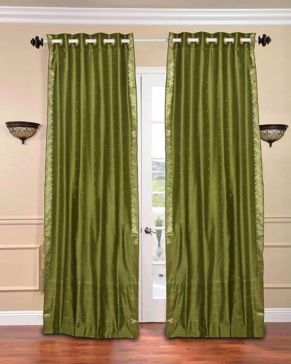 Olive Green Sheer Curtain Panels