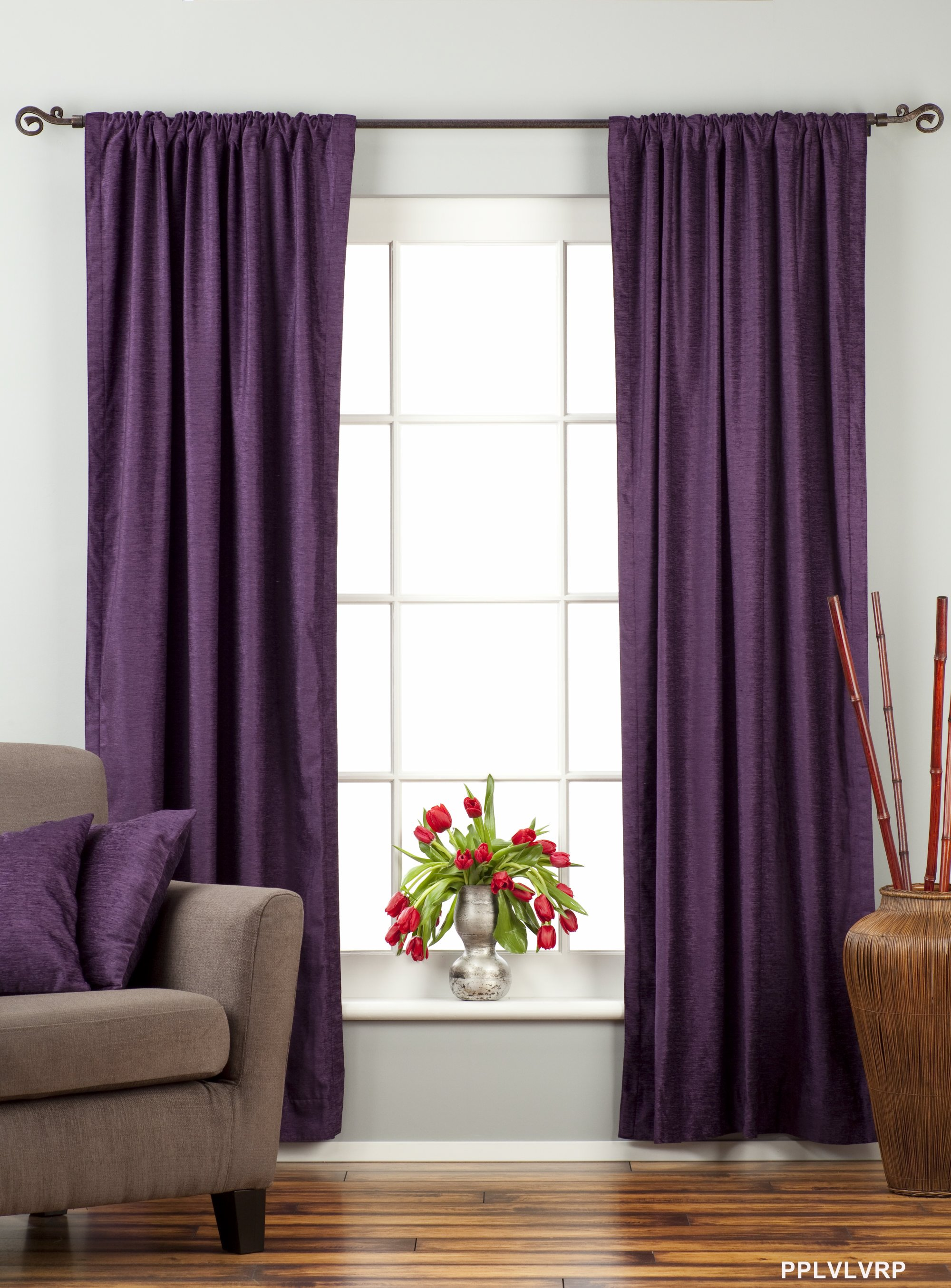 Purple Rod Pocket Velvet Curtain  Drape  Panel  Piece