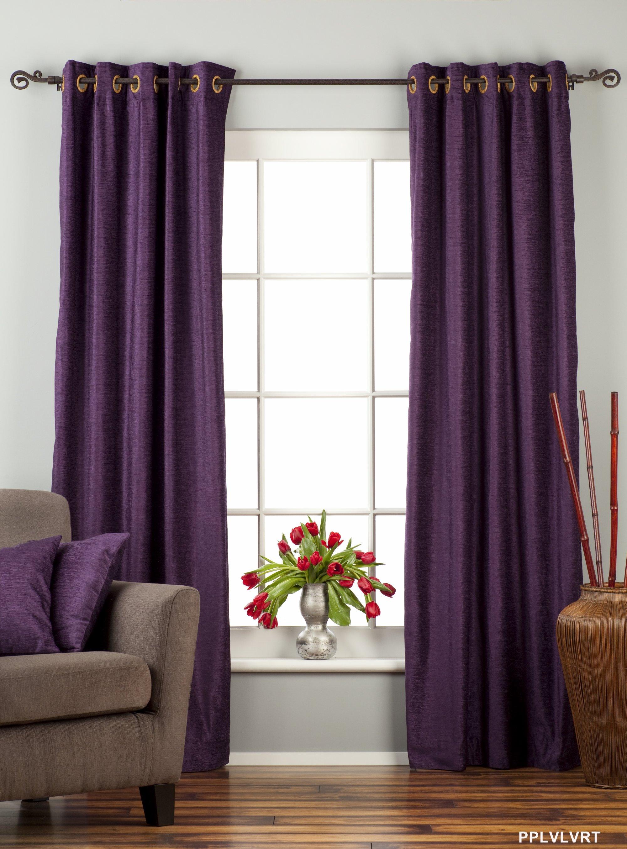 Purple Ring  Grommet Top Velvet Curtain  Drape  Panel