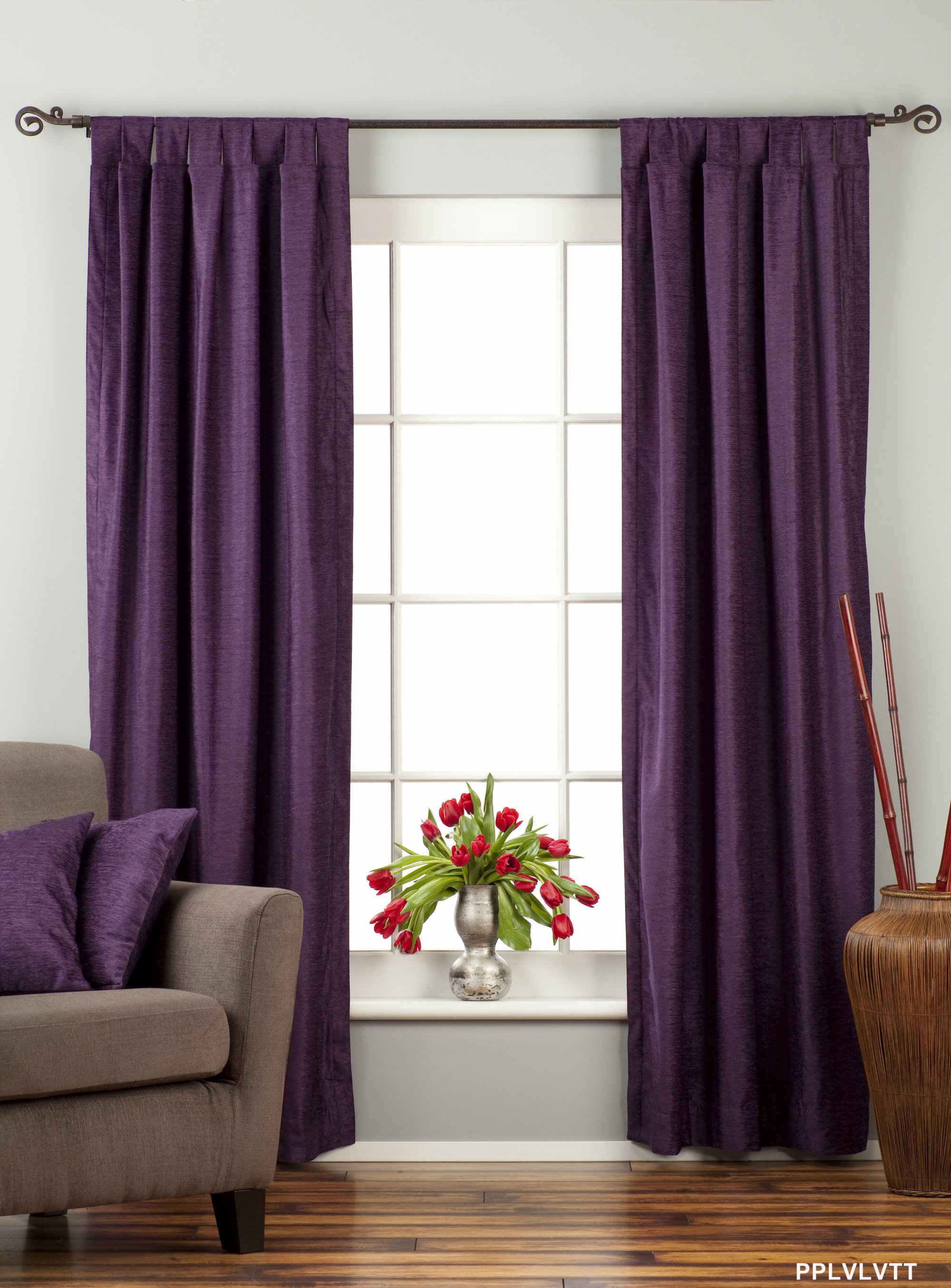 Purple Tab Top Velvet Curtain  Drape  Panel  Piece  eBay