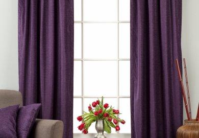 Purple Tab Top Velvet Curtain Drape Panel 84