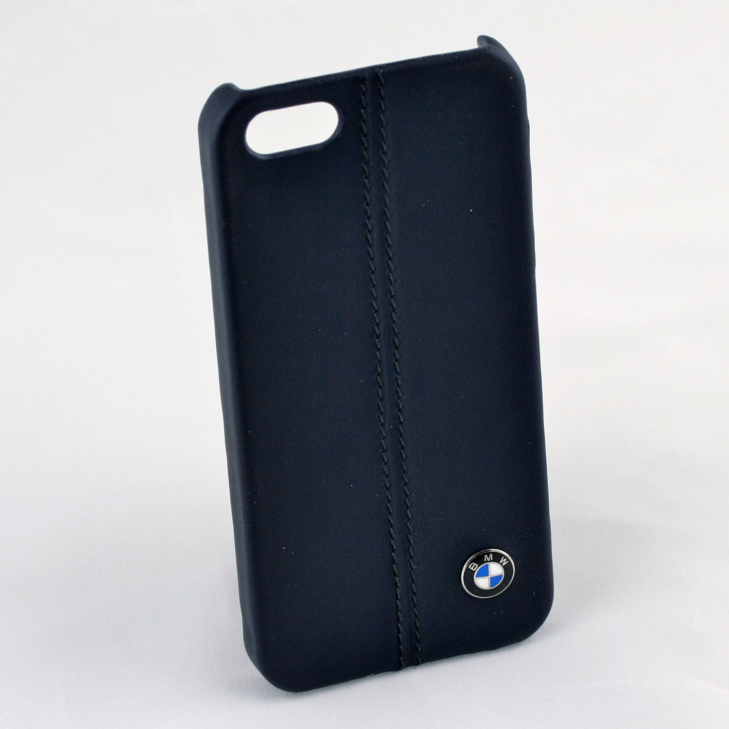 Bmw Iphone 5  5s Navy Blue Leather & Stitching Case Cg