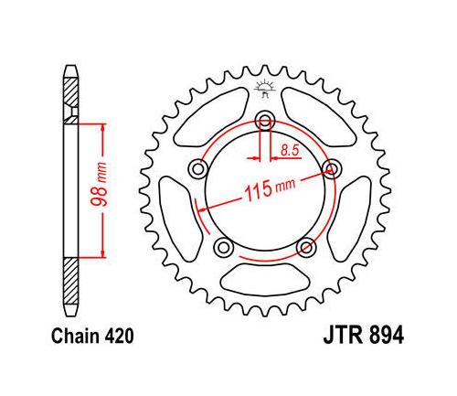 JT Steel Rear Sprocket 420 46T #JTR894.46 KTM 65 SX/60 SX