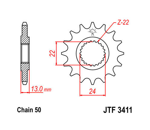 JT Front Sprocket 530 16T Bombardier/Can-Am DS650/DS650