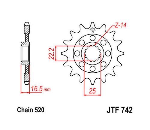 JT Front Sprocket 520 15T #JTF742.15 Ducati 848/1198/1098