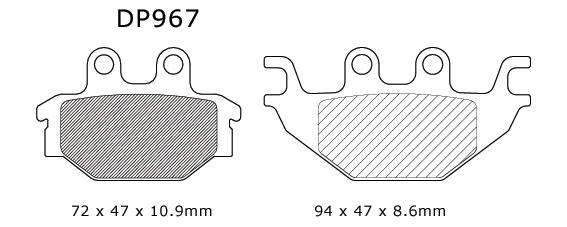 DP Standard Brake Pads Kymco/Arctic Cat/Can-Am MXU 300/DVX