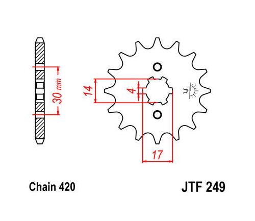 JT Front Sprocket 420 13T #JTF249.13 Kawasaki KLX110L