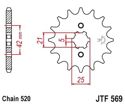 JT Front Sprocket 18T Yamaha XV250 Virago 250/XV250 V-Star