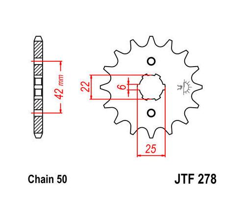 JT Front Sprocket 530 17T Honda Nighthawk/CB400/Economy