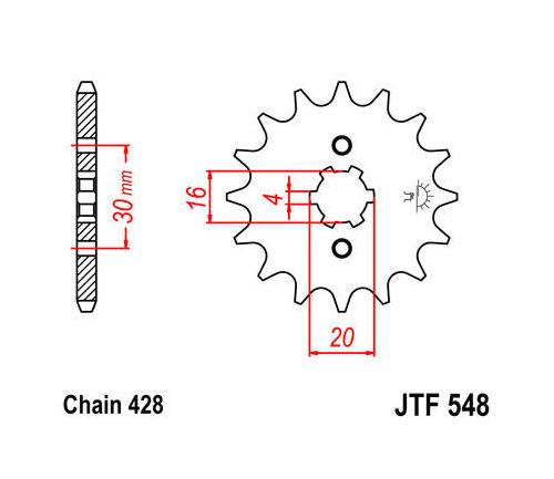 JT Front Sprocket 428 13T #JTF548.13 Yamaha TT-R125LE/TT