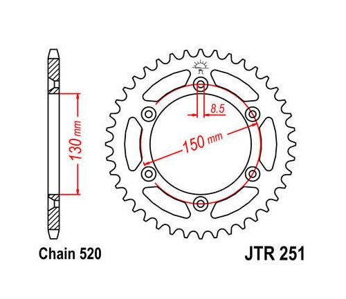 JT Steel Rear Sprocket 520 50T Yamaha YZ250/WR450F/WR250F